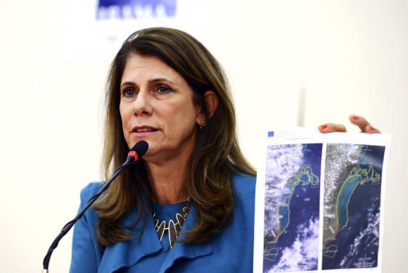 A presidenta do Ibama, Marilene Ramos, mostra imagem da mancha no oceano que pode estar associada aos rejeitos de mineração da barragem da Samarco que se rompeu próximo a Mariana (MG) Valter Campanato/Agência Brasil