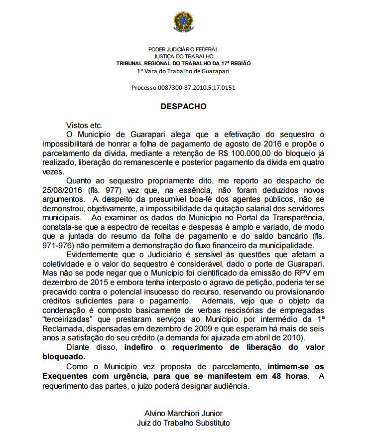 Despacho do Juiz do trabalho - sindilimpe - prefeitura de guarapari