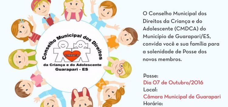 Membros do Conselho dos Direitos da Criança e do Adolescente tomam posse hoje