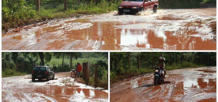 Dez dias depois das chuvas, estrada continua com lama em Recreio Atlântico