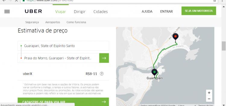 Uber vai cadastrar motoristas para aumentar oferta em Guarapari