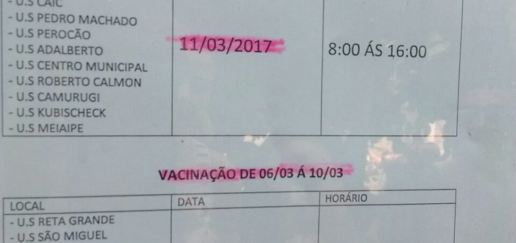 Lista divulga dias e vacinação nas Unidades de Saúde contra a Febre Amarela em Guarapari