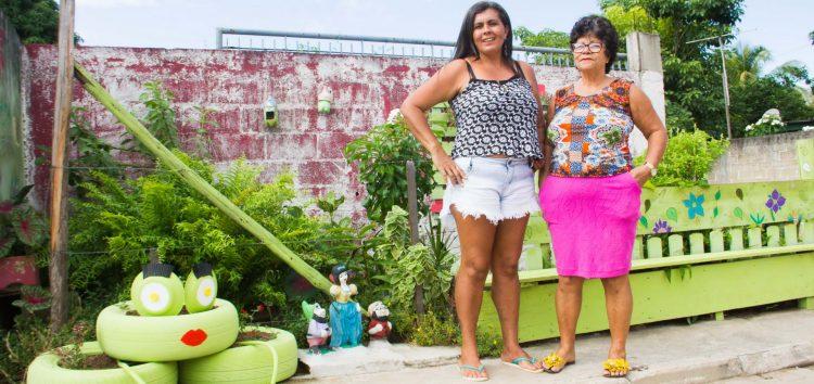 Moradora transformou ponto de lixo em jardim e local de convivência