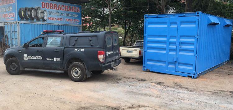 Delegacia Patrimonial recupera em Viana contêiner roubado em Guarapari