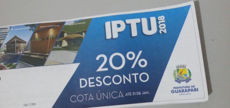 Desconto de 20% no IPTU 2018 termina amanhã (31) em Guarapari