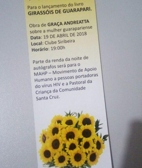"""Livro """"Girassóis de Guarapari"""" será lançado nessa quinta-feira (19)"""