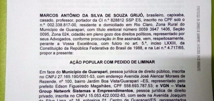 Vereador de Guarapari entra com Ação Popular contra a Prefeitura e o rotativo