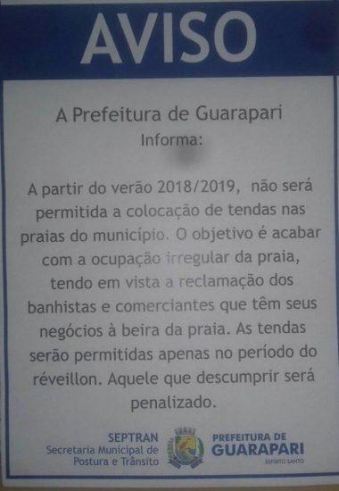 Verão 2019 será sem tendas nas praias de Guarapari