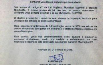 Projeto da Prefeitura de Anchieta restringe o uso dos tickets alimentação ao próprio município