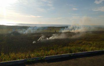 Fogo atinge vegetação na Praia do Riacho em Guarapari