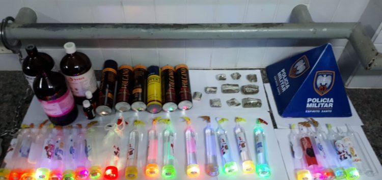 Polícia apreende lança-perfume e material para fabricação da droga em Guarapari
