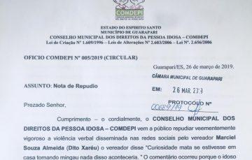 Conselho do Idoso de Guarapari repudia comentários feitos por vereador