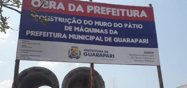 Obra da nova sede na Av. Jones dos Santos Neves dá lugar ao pátio de máquinas da Prefeitura de Guarapari