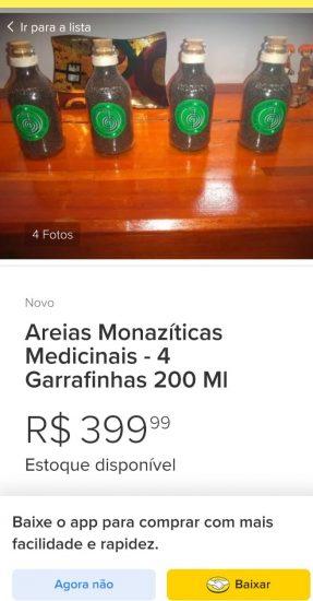 Areias monazíticas de Guarapari estão sendo oferecidas em site de compra e venda