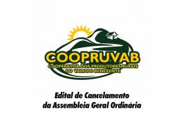 Coopruvab – Edital de cancelamento da Assembleia Geral Ordinaria
