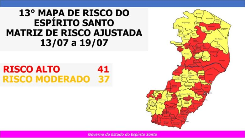 Governo do ES divulga atualização do Mapa de Gestão de Risco da Covid-19