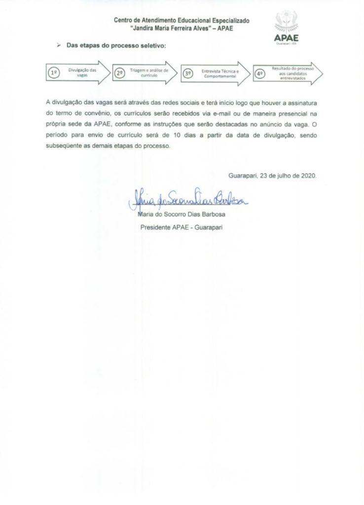 APAE Guarapari abre vagas de emprego