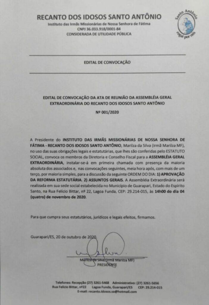 Edital de Convocação de Ata de Reunião da Assembleia Geral Extraordinária do Recanto dos Idosos Santo Antônio