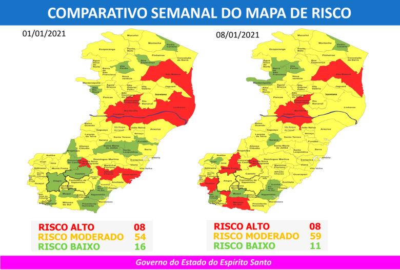 comparação entre mapa anterior e novo mapa de risco covid-19