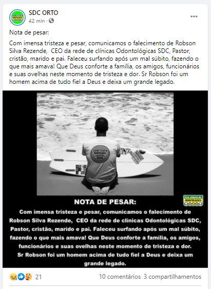 Clínica SDC divulgou nota de pesar pelo falecimento do surfista Robson Baião