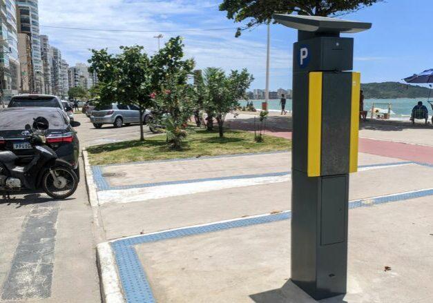 Parquimetro do novo rotativo de Guarapari, na Praia do Morro